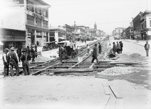 SFMTA Photo Archive | sfmta.com/photo Building H Line at Van Ness Avenue and McAllister Street | Circa 1914